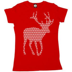 5f61ec1a Image is loading CHRISTMAS-REINDEER-SNOWFLAKE-DESIGN-WOMENS-FESTIVE-ANIMAL- PRINT-