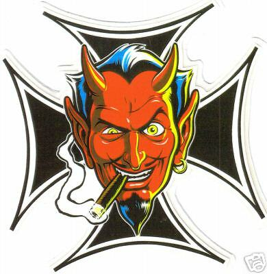 DEVIL WITH MALTESE CROSS  VINYL STICKER A013