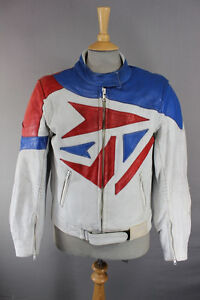 AMAZING-WHITE-BLUE-amp-RED-J-amp-S-LEATHERS-BIKER-JACKET-40-INCH