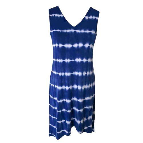 Design History Womens Sleeveless V-Neck Summer Dress Brush Stroke Tie Dye Blue