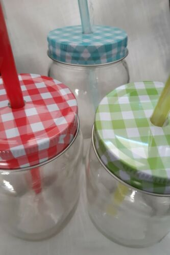 cocktails punch//juice. Mason jar with lid//straw pack of 3 Lovely for smoothies