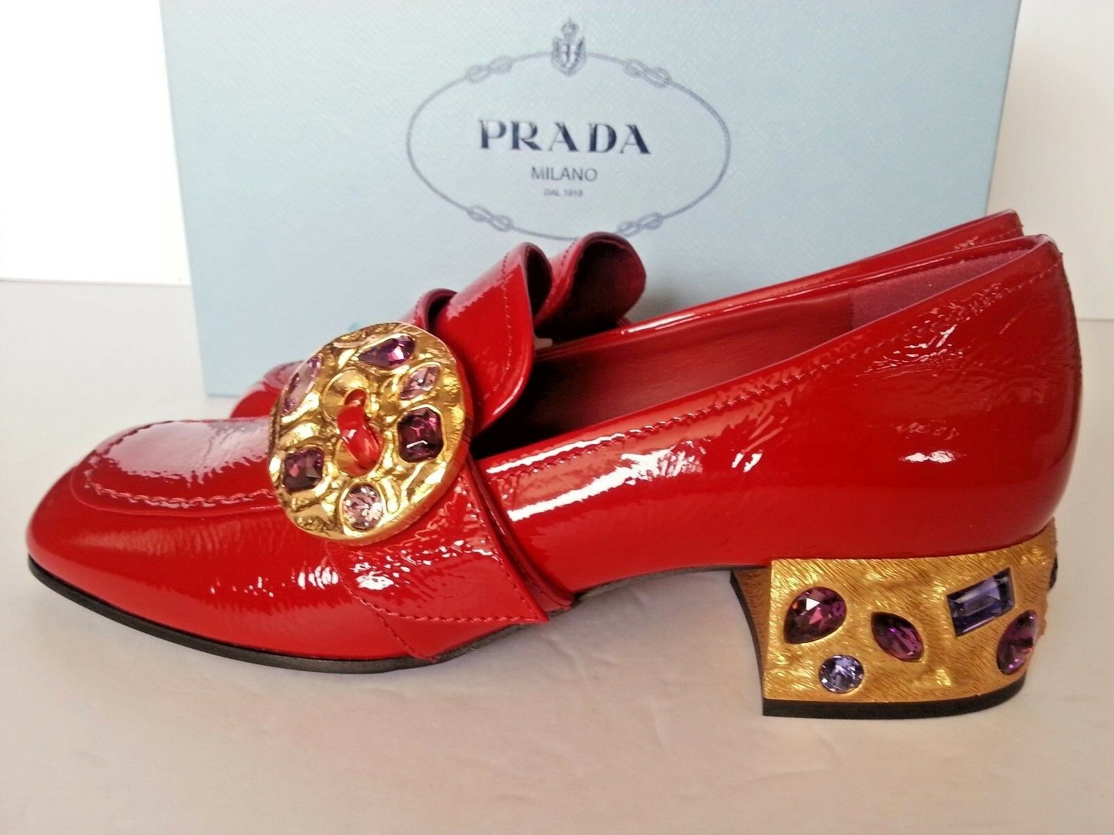 NEW PRADA Patent Embellished Embellished Embellished Jeweled 35mm Loafer schuhe Pump rot 37 dd2c25