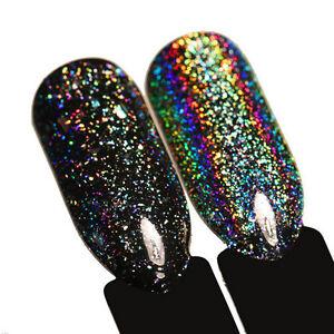 Nail Art Black Laser Holographic Glitter Powder Chrome Dust Pigment