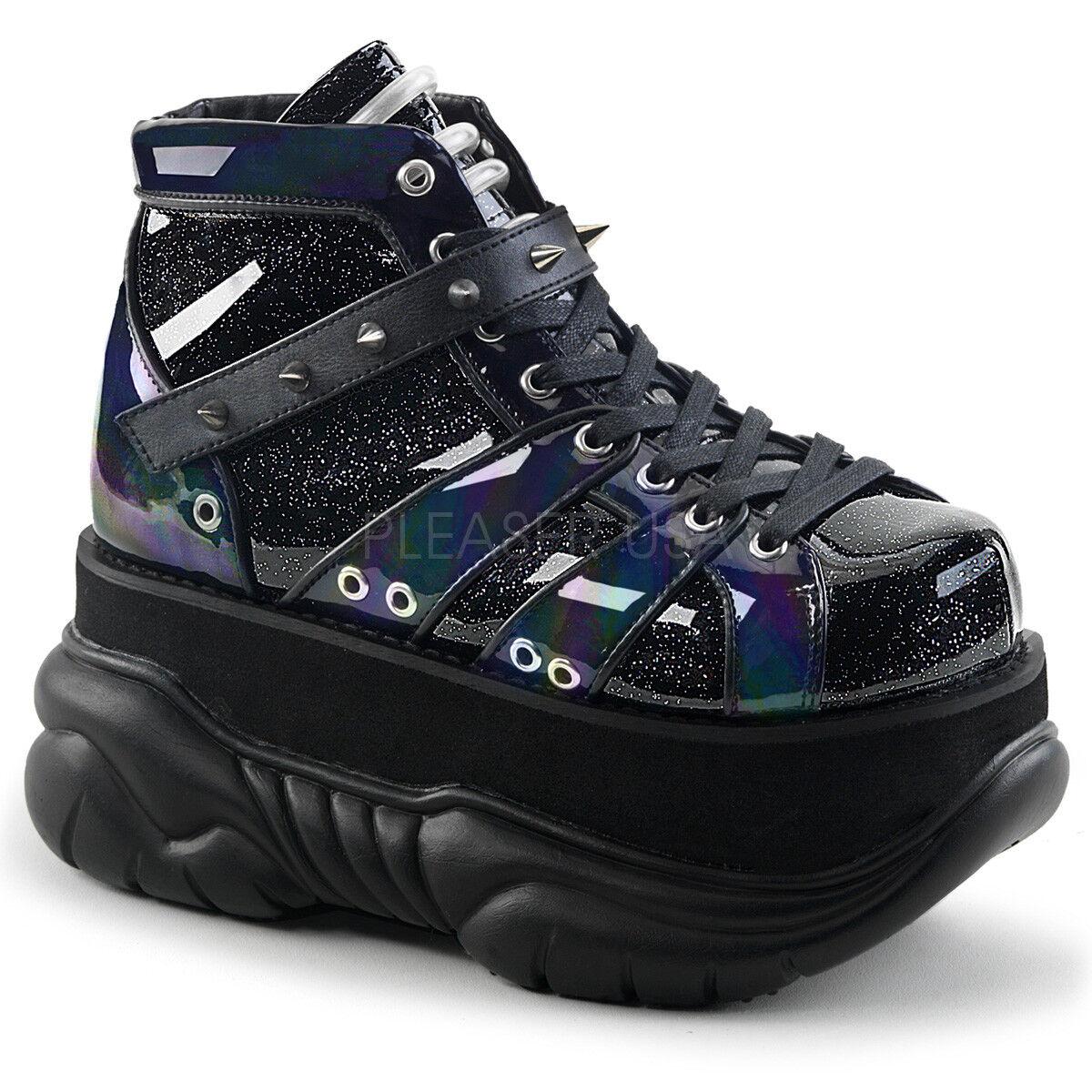 Demonia NEPTUNE-100 Men's Black Glitter Silver Leather Low Platform Ankle Boots
