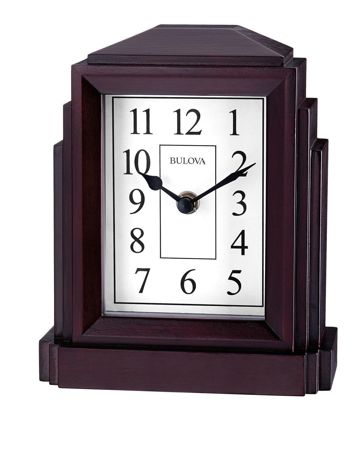 BRAND NEW Bulova Weiß Dial Oak Veneer Case Glass Lens Clock B6218