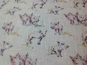 Clarke and Clarke FISH Linen Blend Fabric Curtains// Roman Blinds//Cushions//Craft