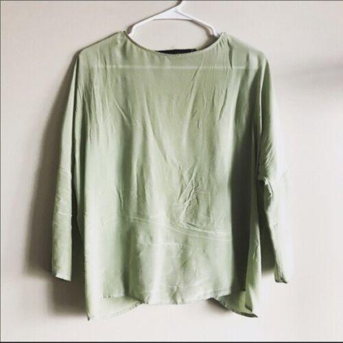 Zara Studio 100% Silk Women Blouse Sage Pistachio