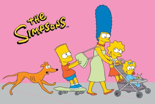 Simpsons Walk -N- Roll, Pink Background, Collector's Fun Rug, 39 by 58, New