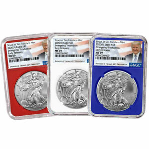 2020 $1 American Silver Eagle NGC MS69 Emergency Production Trump ER Label S
