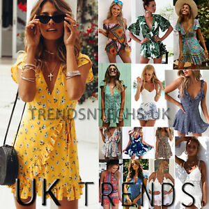 distinctive design autumn shoes great fit Details about UK Womens Holiday Mini Playsuits Ladies Jumpsuits Beach  Summer Dress Size 6 - 14