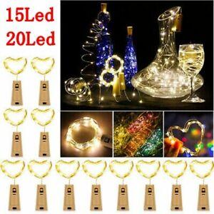 12tlg 20LED Flaschenlicht Korken mit LED Lichterkette Weinflasche Licht Akku Neu