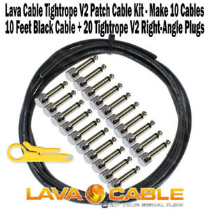 Lava-Cable-Pedal-Board-Kit-10-ft-Black-Tightrope-Solder-Free-Cable-20-V2-Plugs