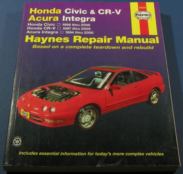 Haynes Honda Civic & CR-V Repair Manual 1996-2000 Accura