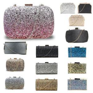 New-Womens-Glitter-Hard-Case-Clutch-Bag-Girls-Glitter-Bag-Women-039-s-Evening-Bag