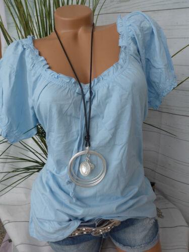 280 Corley Shirt Gr NEU 44 Kurzarm Blau Ton mit Rüschen