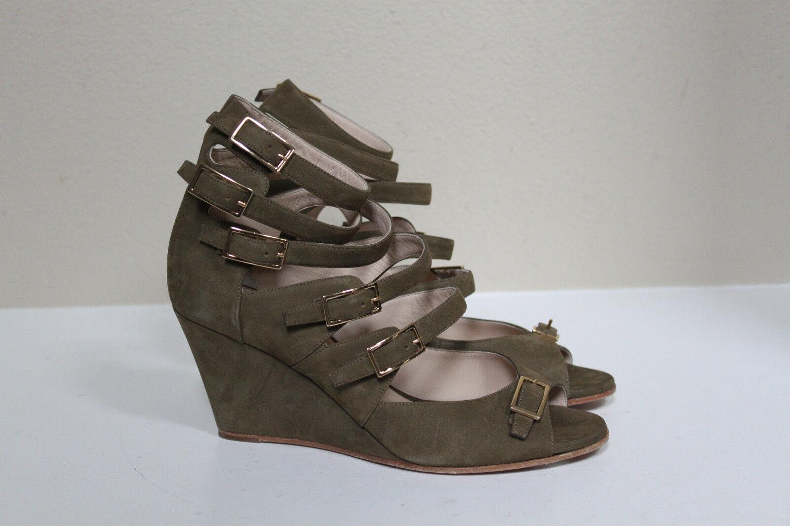 Nuova sz 9   39.5 Chloe verde Suede Multi  brep Open Toe Wedge Heel Sandal scarpe  promozioni di sconto