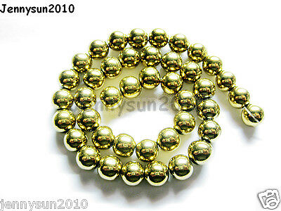 Natural Hematite Gemstone Round Ball Beads 16'' Gold 2mm 3mm 4mm 6mm 8mm 10mm