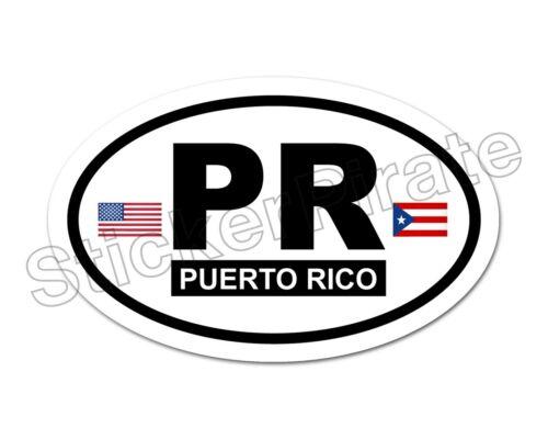 * Oval Car Magnet PR Puerto Rico Flags Magnetic Bumper Sticker