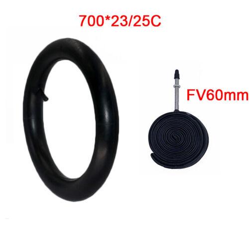 2PCS 60MM Presta Valve Bike Inner Tube 700x23//25C Road Bike Butyl Rubber Tire
