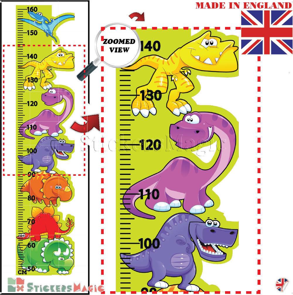 Dinosaur Height Chart Measure Wall Sticker Kids Boys Childrens Art ...