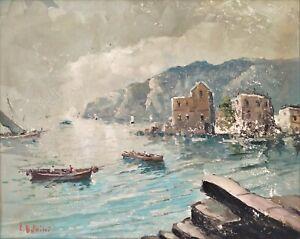 Peinture Ancienne Huile sur toile signée Paysage Côtier Marin Italien
