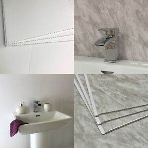 Image Is Loading Gloss White Grey Marble Bathroom Wall Panels Cladding