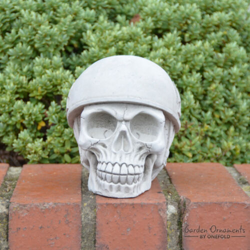 GERMAN SKULL Garden Ornament Statue Hand Cast Stone Home Patio Decor ⧫onefold-uk