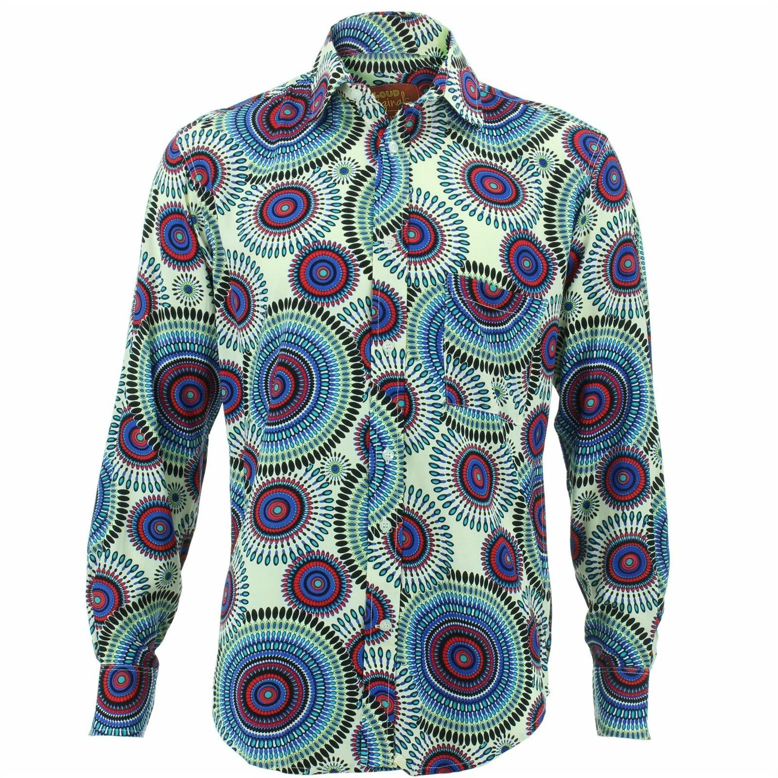 Camicia da uomo forte ORIGINALI REGULAR FIT Geometrico SPIRALI Geometrico  FIT Retrò Fantasia Psichedelica b219e1 134822344dc