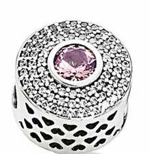 Authentic Pandora Charm S925 ALE Radiant Splendor Blush Pink Crystal 791763NBP