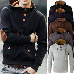 Men's Winter Cowl Neck Hooded Sweatshirt Coat Jacket Outwear ...
