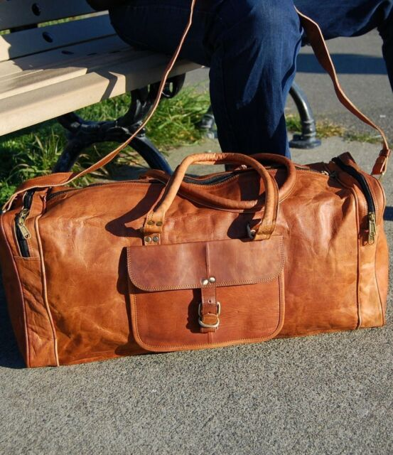 """20/"""" New Men Tote Brown Vintage Real Travel Luggage Duffle Gym Bags Goat Leather"""