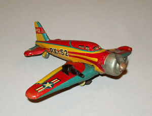 Beautiful-Old-vtg-1950s-60s-Tin-Toy-P52-Airplane-PX-52-WWII-USAF-Fighter-Japan
