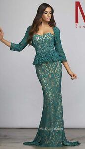 NWT-Size-6-Emerald-lace-over-nude-lining-Mac-Duggal-62165-matching-bolero