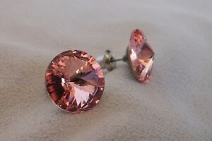 HYPOALLERGENIC-Stud-Earrings-Swarovski-Elements-Crystal-LARGE-Size-Light-Rose
