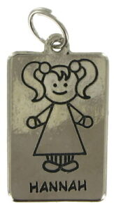 """Girl Name Jewelry Line Drawing Charm Silver Tone 1.5"""" Pendant - """"Hannah"""""""
