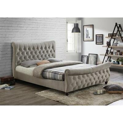 Copenhagen Bed King Size 5ft or 6ft Luxury Deep Upholstered Fabric Warm Stone