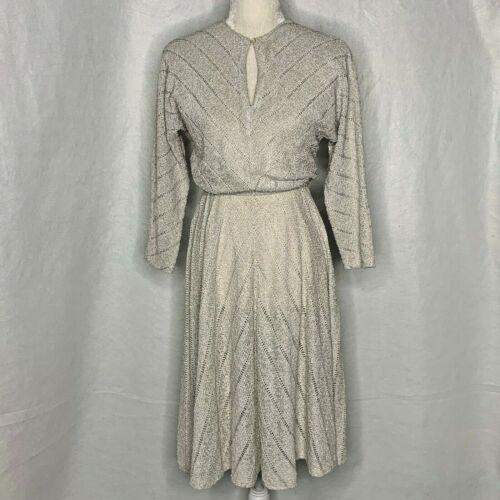 Vintage 70s Ronnie Heller Knit Dress 6 Ivory Elast