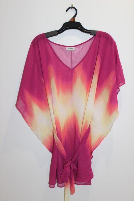 Women's Chiffon Pink, Yellow & Orange Dress - Size L - JEANSWEST