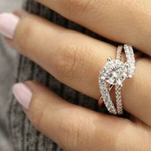 Women Wedding Rings.Details About Womens 925 Sterling Silver Copper Rings Engagement Wedding Cubic Zirconia Ring