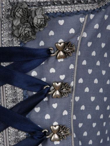 Gr Trachten Mieder mit Spitzendekoration grau-blau Gr 40 46 1118529335 42