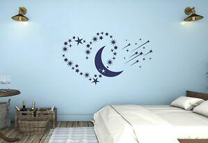 Wandtattoo Schlafzimmer Mond Sterne Herz Kinderzimmer Sternschnuppe Pkm286 Ebay