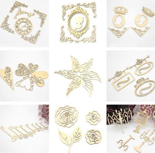 Wooden Multi Shapes Laser Cut Embellishment Wedding Craft Scrapbook   SELL