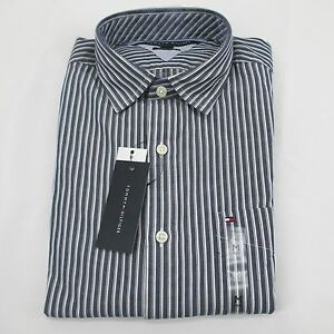006da24981822a Details about Tommy Hilfiger Man Gray Striped Shirt C887884607465 -Custom  Fit Brand New Tag