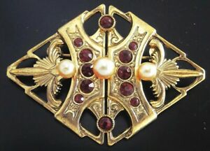 Czech-VINTAGE-ANTIQUE-1950-039-s-Pin-Brooch-T134