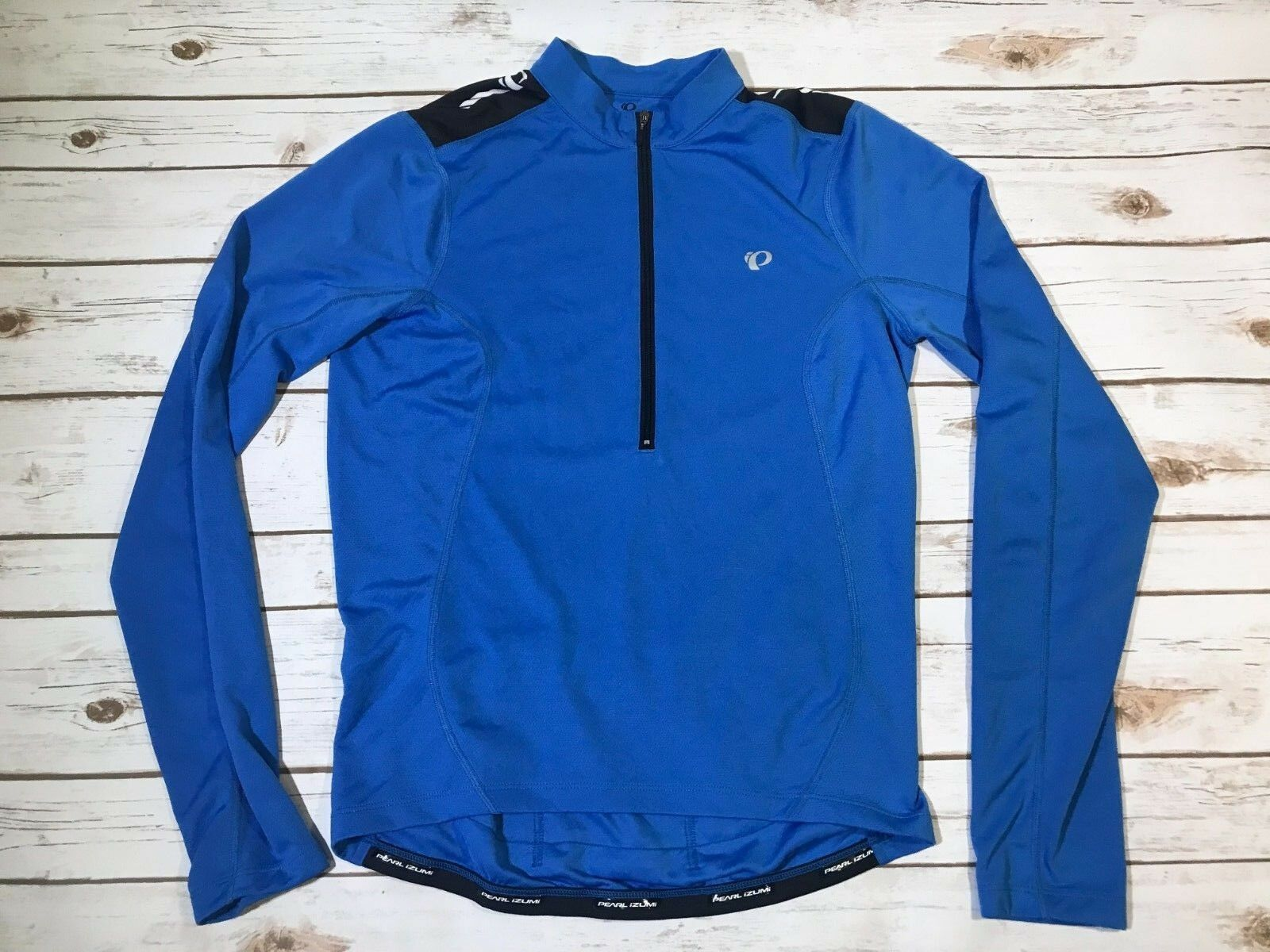 Men's Pearl Izumi bluee Half Zip Cycling Bike Jersey Shirt Long Sleeve Small S