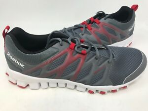 0151205c243e NEW! Reebok Men s Realflex Train 4.0 Athletic Shoes Grey Red White ...