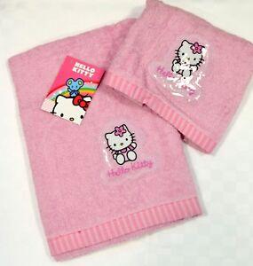 Set Bagno Hello Kitty.Dettagli Su Set Asciugamani Bagno Viso Ospite Spugna Hello Kitty