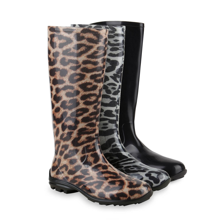 Damen Gummistiefel Lack Stiefel Profilsohle Regenschuhe 78727 Schuhe