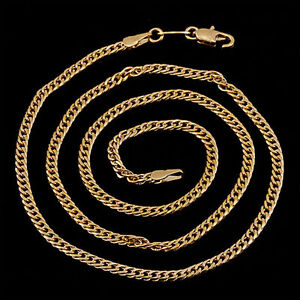 10K-Yellow-Gold-GF-Flat-Pretty-Link-Chain-Necklace-49cm-3mm-Lovely-NEW