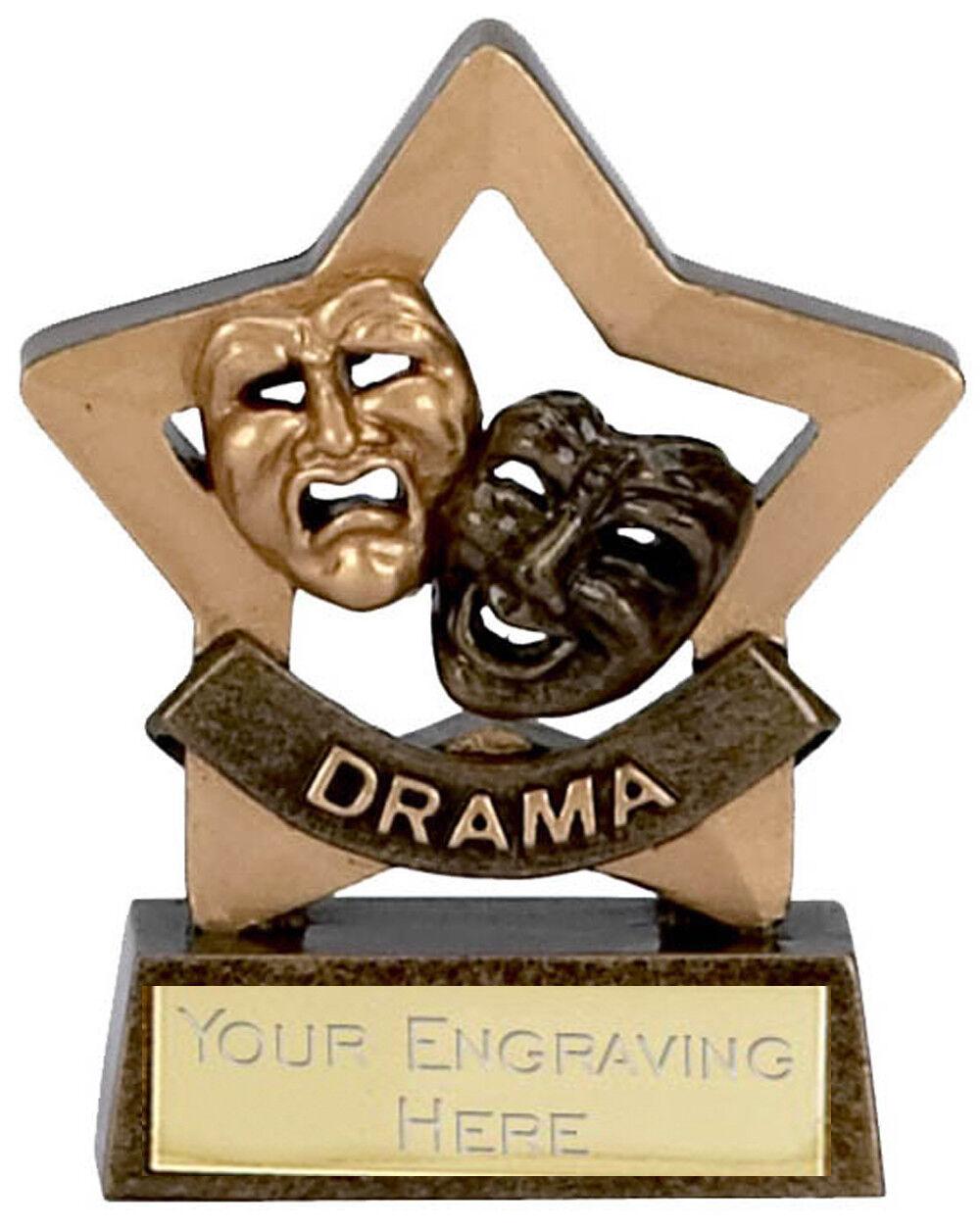 6 x DRAMA Star Trophies FREE ENGRAVING Personalised Engraved Awards 3.25  Club